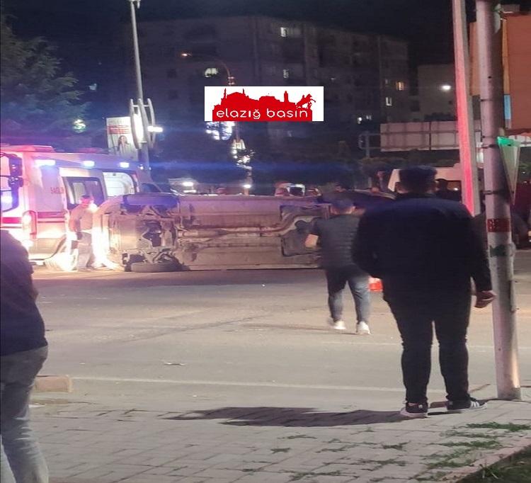 Elazığ`da  Meydana Gelen Kazada Otomobil Takla Attı