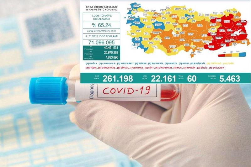 Türkiye'de son 24 saatte 60 kişi vefat etti 22 bin 161 vaka tespit edildi